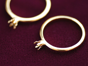 6つ爪リングパーツ・ライトゴールドでオリジナルリングの作り方